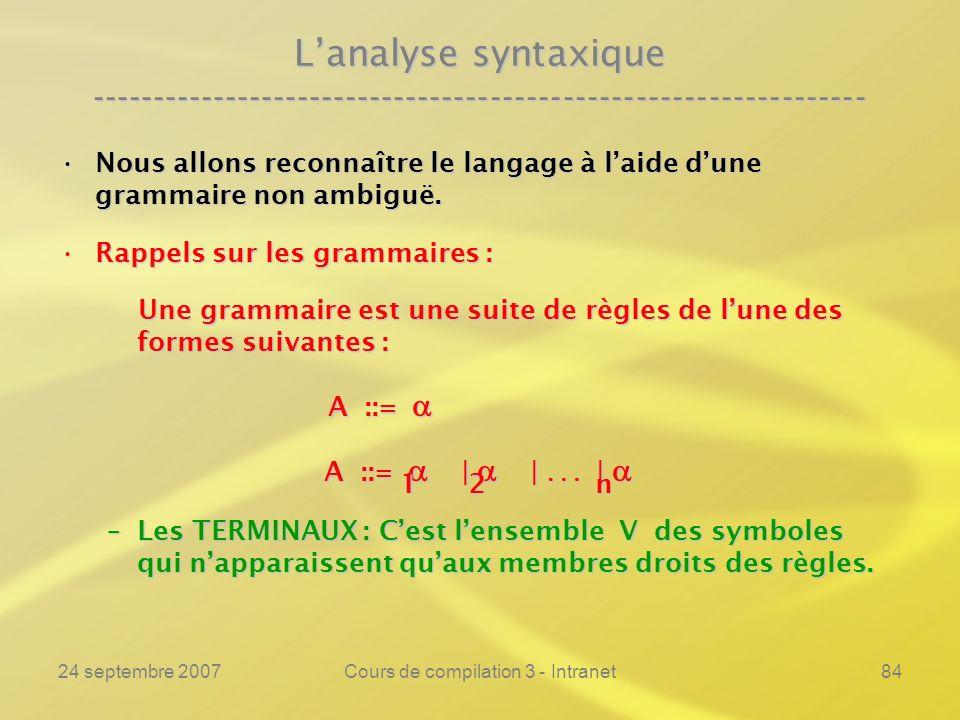 24 septembre 2007Cours de compilation 3 - Intranet84 Lanalyse syntaxique ---------------------------------------------------------------- Nous allons