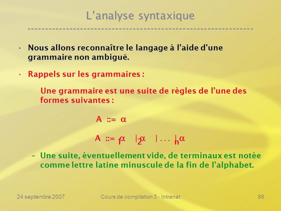 24 septembre 2007Cours de compilation 3 - Intranet86 Lanalyse syntaxique ---------------------------------------------------------------- Nous allons
