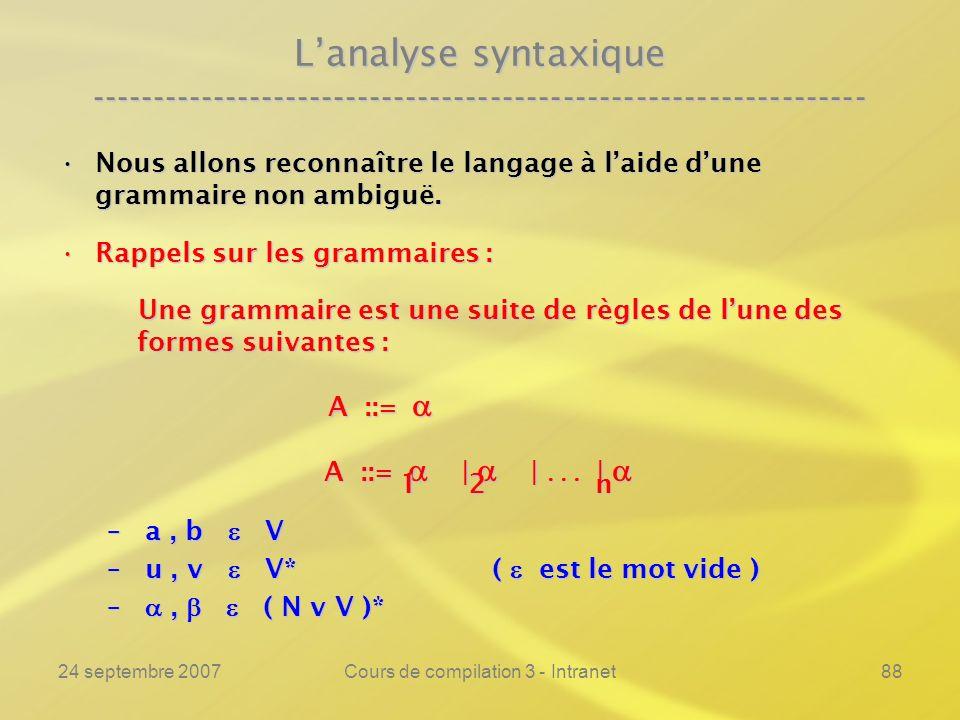 24 septembre 2007Cours de compilation 3 - Intranet88 Lanalyse syntaxique ---------------------------------------------------------------- Nous allons