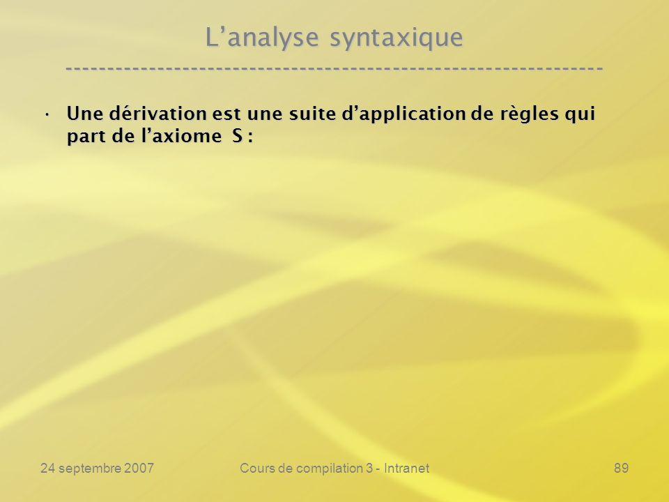 24 septembre 2007Cours de compilation 3 - Intranet89 Lanalyse syntaxique ---------------------------------------------------------------- Une dérivati