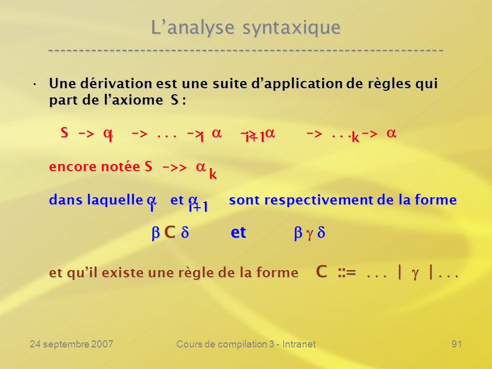 24 septembre 2007Cours de compilation 3 - Intranet91 Lanalyse syntaxique ---------------------------------------------------------------- Une dérivati