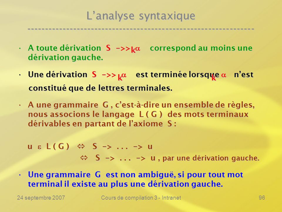 24 septembre 2007Cours de compilation 3 - Intranet96 Lanalyse syntaxique ---------------------------------------------------------------- A toute déri