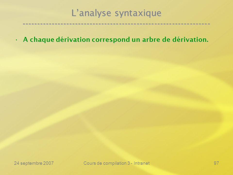 24 septembre 2007Cours de compilation 3 - Intranet97 Lanalyse syntaxique ---------------------------------------------------------------- A chaque dér