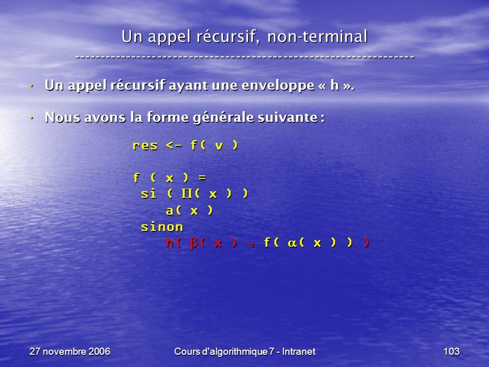 27 novembre 2006Cours d algorithmique 7 - Intranet103 Un appel récursif, non-terminal ----------------------------------------------------------------- Un appel récursif ayant une enveloppe « h ».