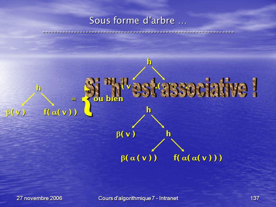 27 novembre 2006Cours d algorithmique 7 - Intranet137 Sous forme darbre … ----------------------------------------------------------------- = ou bien = ou bien h ( v ) ( v ) { h f( ( v ) ) h ( v ) ( v ) a( ( v ) ) h ( ( v ) ) ( ( v ) ) f( ( ( v ) ) )
