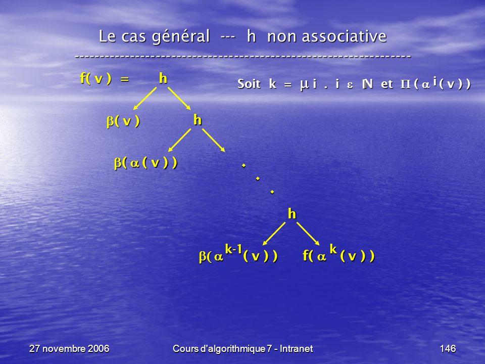 27 novembre 2006Cours d algorithmique 7 - Intranet146 Le cas général --- h non associative ----------------------------------------------------------------- f( v ) = h ( v ) ( v ) h ( v ) ) ( v ) ) f( ( v ) ) h ( ( v ) ) ( ( v ) )...