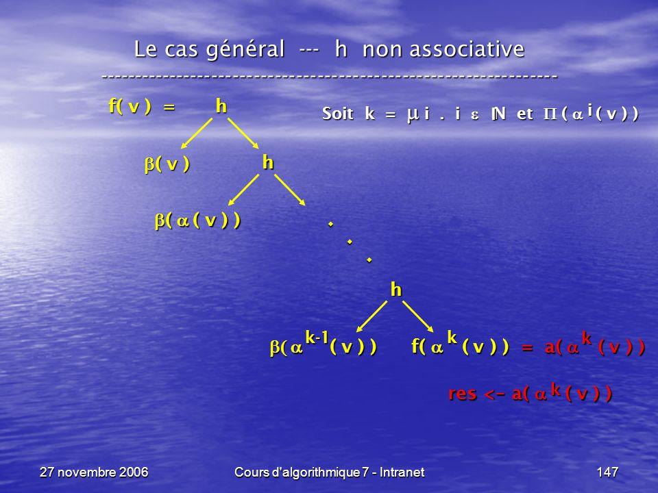 27 novembre 2006Cours d algorithmique 7 - Intranet147 Le cas général --- h non associative ----------------------------------------------------------------- f( v ) = h ( v ) ( v ) h ( v ) ) ( v ) ) f( ( v ) ) = a( ( v ) ) h ( ( v ) ) ( ( v ) )...