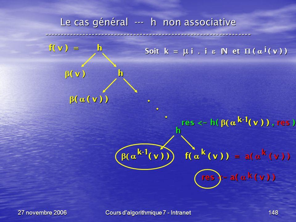 27 novembre 2006Cours d algorithmique 7 - Intranet148 Le cas général --- h non associative ----------------------------------------------------------------- f( v ) = h ( v ) ( v ) h ( v ) ) ( v ) ) f( ( v ) ) = a( ( v ) ) h ( ( v ) ) ( ( v ) )...