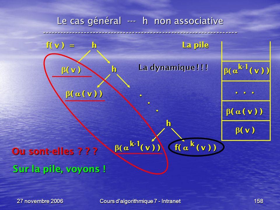 27 novembre 2006Cours d algorithmique 7 - Intranet158 Le cas général --- h non associative ----------------------------------------------------------------- f( v ) = h ( v ) ( v ) h ( v ) ) ( v ) ) f( ( v ) ) h ( ( v ) ) ( ( v ) )...