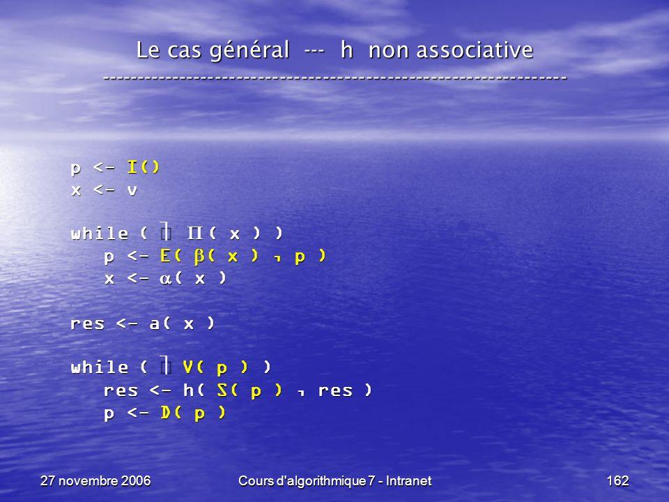 27 novembre 2006Cours d algorithmique 7 - Intranet162 Le cas général --- h non associative ----------------------------------------------------------------- p <- I() x <- v while ( ( x ) ) p <- E( ( x ), p ) p <- E( ( x ), p ) x <- ( x ) x <- ( x ) res <- a( x ) while ( V( p ) ) res <- h( S( p ), res ) res <- h( S( p ), res ) p <- D( p ) p <- D( p )