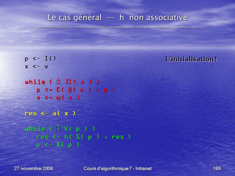 27 novembre 2006Cours d algorithmique 7 - Intranet165 Le cas général --- h non associative ----------------------------------------------------------------- p <- I() x <- v while ( ( x ) ) p <- E( ( x ), p ) p <- E( ( x ), p ) x <- ( x ) x <- ( x ) res <- a( x ) while ( V( p ) ) res <- h( S( p ), res ) res <- h( S( p ), res ) p <- D( p ) p <- D( p ) Linitialisation !