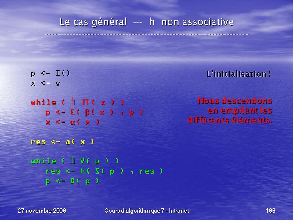 27 novembre 2006Cours d algorithmique 7 - Intranet166 Le cas général --- h non associative ----------------------------------------------------------------- p <- I() x <- v while ( ( x ) ) p <- E( ( x ), p ) p <- E( ( x ), p ) x <- ( x ) x <- ( x ) res <- a( x ) while ( V( p ) ) res <- h( S( p ), res ) res <- h( S( p ), res ) p <- D( p ) p <- D( p ) Linitialisation .