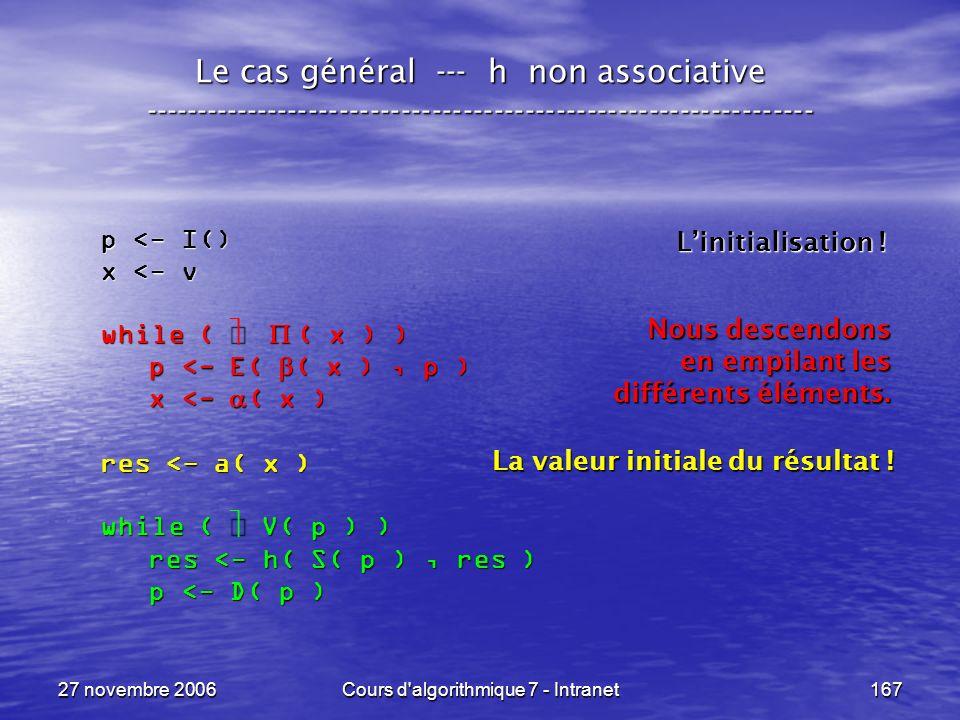 27 novembre 2006Cours d algorithmique 7 - Intranet167 Le cas général --- h non associative ----------------------------------------------------------------- p <- I() x <- v while ( ( x ) ) p <- E( ( x ), p ) p <- E( ( x ), p ) x <- ( x ) x <- ( x ) res <- a( x ) while ( V( p ) ) res <- h( S( p ), res ) res <- h( S( p ), res ) p <- D( p ) p <- D( p ) Linitialisation .