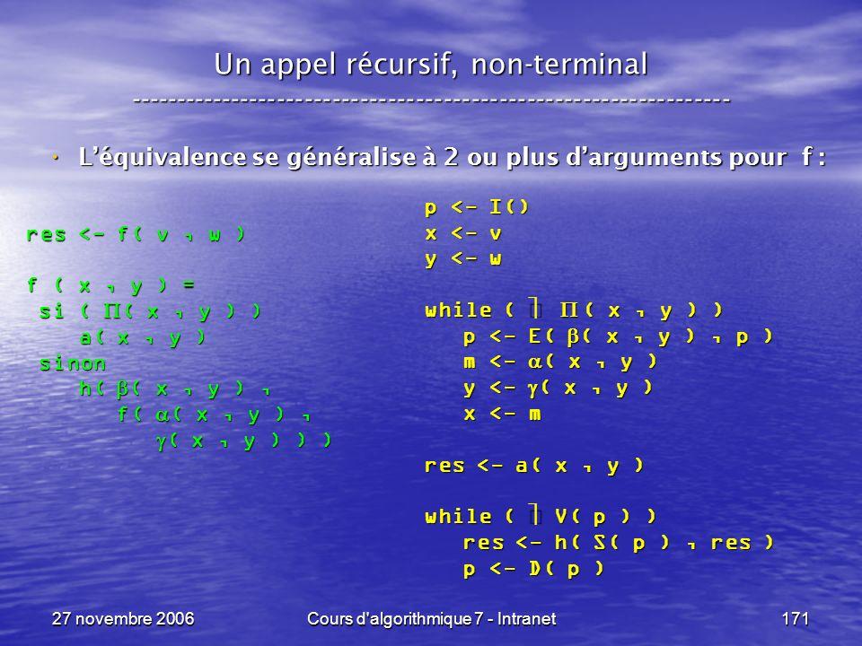 27 novembre 2006Cours d algorithmique 7 - Intranet171 Un appel récursif, non-terminal ----------------------------------------------------------------- Léquivalence se généralise à 2 ou plus darguments pour f : Léquivalence se généralise à 2 ou plus darguments pour f : res <- f( v, w ) f ( x, y ) = si ( ( x, y ) ) si ( ( x, y ) ) a( x, y ) a( x, y ) sinon sinon h( ( x, y ), h( ( x, y ), f( ( x, y ), f( ( x, y ), ( x, y ) ) ) ( x, y ) ) ) p <- I() x <- v y <- w while ( ( x, y ) ) p <- E( ( x, y ), p ) p <- E( ( x, y ), p ) m <- ( x, y ) m <- ( x, y ) y <- ( x, y ) y <- ( x, y ) x <- m x <- m res <- a( x, y ) while ( V( p ) ) res <- h( S( p ), res ) res <- h( S( p ), res ) p <- D( p ) p <- D( p )