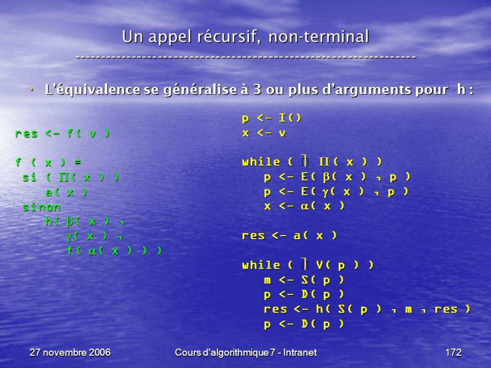 27 novembre 2006Cours d algorithmique 7 - Intranet172 Un appel récursif, non-terminal ----------------------------------------------------------------- Léquivalence se généralise à 3 ou plus darguments pour h : Léquivalence se généralise à 3 ou plus darguments pour h : res <- f( v ) f ( x ) = si ( ( x ) ) si ( ( x ) ) a( x ) a( x ) sinon sinon h( ( x ), h( ( x ), ( x ), ( x ), f( ( x ) ) ) f( ( x ) ) ) p <- I() x <- v while ( ( x ) ) p <- E( ( x ), p ) p <- E( ( x ), p ) x <- ( x ) x <- ( x ) res <- a( x ) while ( V( p ) ) m <- S( p ) m <- S( p ) p <- D( p ) p <- D( p ) res <- h( S( p ), m, res ) res <- h( S( p ), m, res ) p <- D( p ) p <- D( p )
