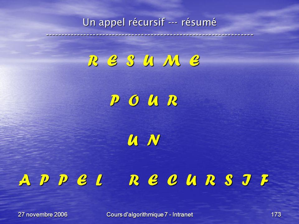 27 novembre 2006Cours d algorithmique 7 - Intranet173 Un appel récursif --- résumé ----------------------------------------------------------------- R E S U M E P O U R U N A P P E L R E C U R S I F