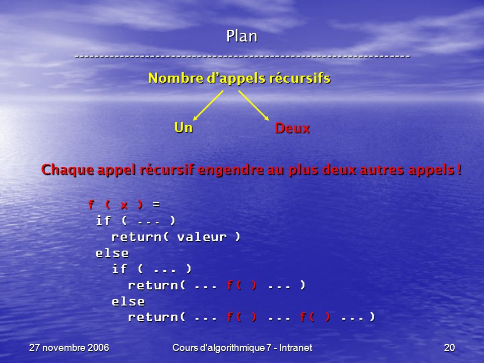 27 novembre 2006Cours d algorithmique 7 - Intranet20 Plan ----------------------------------------------------------------- Chaque appel récursif engendre au plus deux autres appels .