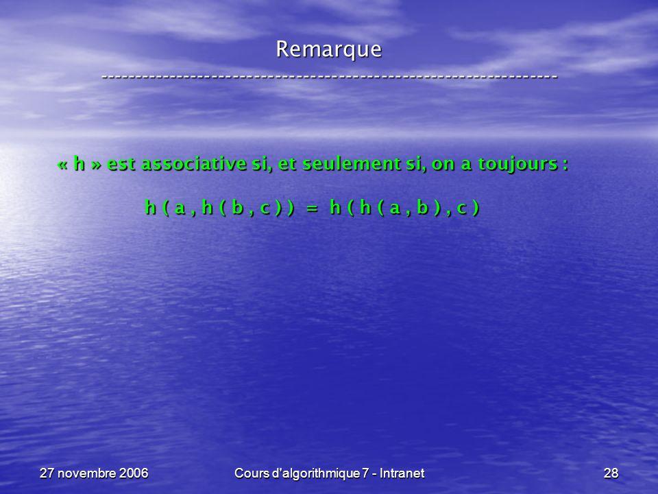 27 novembre 2006Cours d algorithmique 7 - Intranet28 Remarque ----------------------------------------------------------------- « h » est associative si, et seulement si, on a toujours : h ( a, h ( b, c ) ) = h ( h ( a, b ), c )