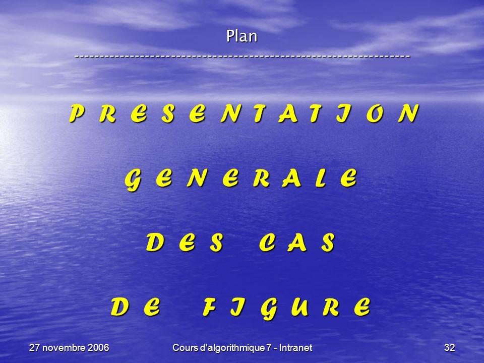 27 novembre 2006Cours d algorithmique 7 - Intranet32 Plan ----------------------------------------------------------------- P R E S E N T A T I O N P R E S E N T A T I O N G E N E R A L E D E S C A S D E F I G U R E