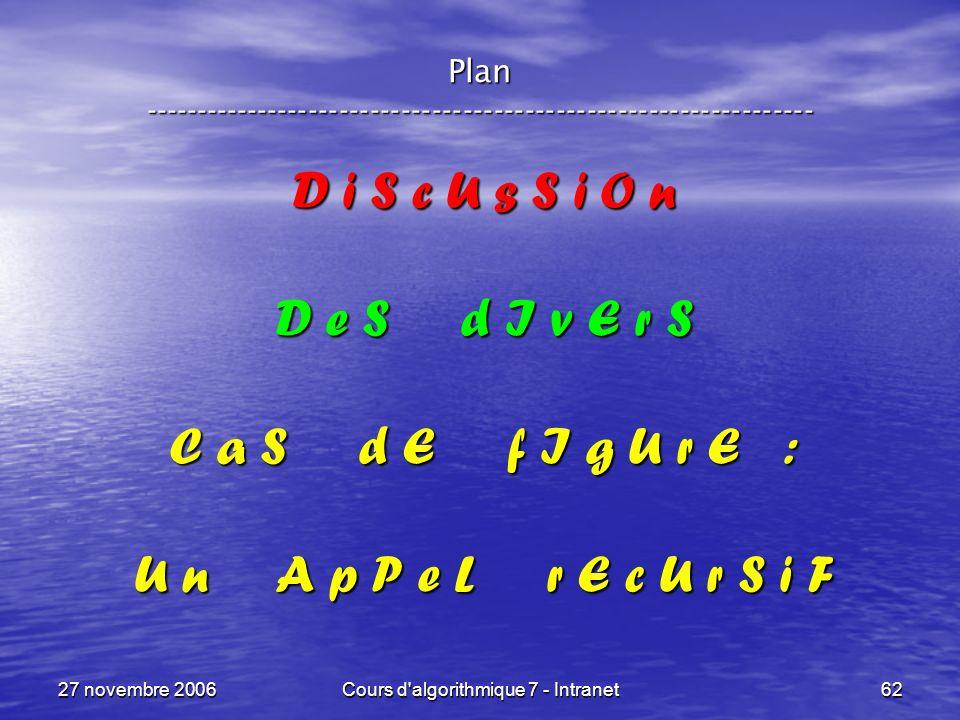 27 novembre 2006Cours d algorithmique 7 - Intranet62 Plan ----------------------------------------------------------------- D i S c U s S i O n D e S d I v E r S C a S d E f I g U r E : U n A p P e L r E c U r S i F