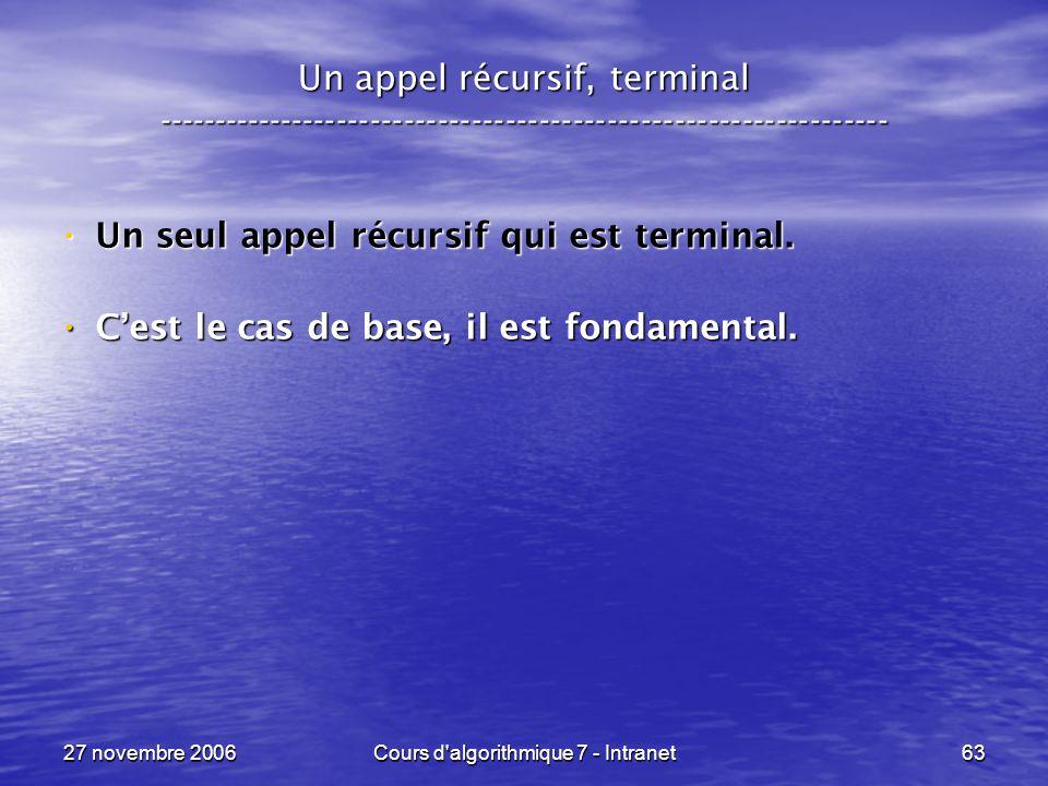 27 novembre 2006Cours d algorithmique 7 - Intranet63 Un appel récursif, terminal ----------------------------------------------------------------- Un seul appel récursif qui est terminal.