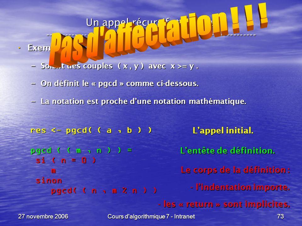 27 novembre 2006Cours d algorithmique 7 - Intranet73 Un appel récursif, terminal ----------------------------------------------------------------- Exemple : Exemple : – Soient des couples ( x, y ) avec x >= y.