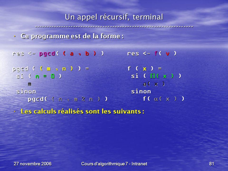 27 novembre 2006Cours d algorithmique 7 - Intranet81 Un appel récursif, terminal ----------------------------------------------------------------- Ce programme est de la forme : Ce programme est de la forme : Les calculs réalisés sont les suivants : Les calculs réalisés sont les suivants : res <- pgcd( ( a, b ) ) pgcd ( ( m, n ) ) = si ( n = 0 ) si ( n = 0 ) m sinon sinon pgcd( ( n, m % n ) ) pgcd( ( n, m % n ) ) res <- f( v ) f ( x ) = si ( ( x ) ) si ( ( x ) ) a( x ) a( x ) sinon sinon f( ( x ) ) f( ( x ) )