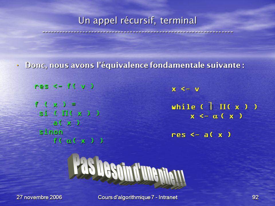 27 novembre 2006Cours d algorithmique 7 - Intranet92 Un appel récursif, terminal ----------------------------------------------------------------- Donc, nous avons léquivalence fondamentale suivante : Donc, nous avons léquivalence fondamentale suivante : x <- v while ( ( x ) ) x <- ( x ) x <- ( x ) res <- a( x ) res <- f( v ) f ( x ) = si ( ( x ) ) si ( ( x ) ) a( x ) a( x ) sinon sinon f( ( x ) ) f( ( x ) )