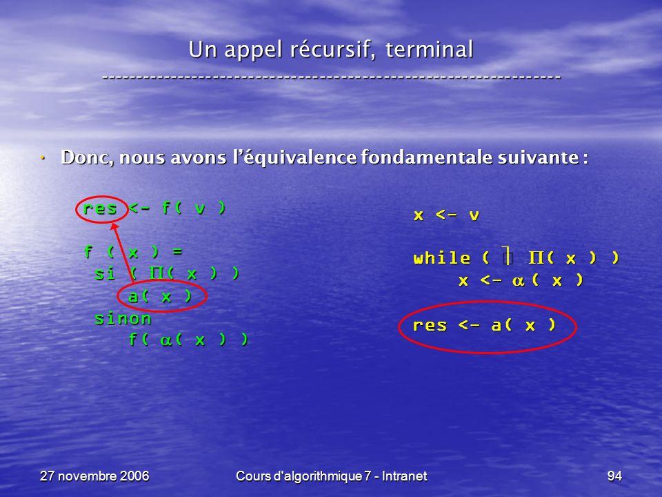 27 novembre 2006Cours d algorithmique 7 - Intranet94 Un appel récursif, terminal ----------------------------------------------------------------- Donc, nous avons léquivalence fondamentale suivante : Donc, nous avons léquivalence fondamentale suivante : x <- v while ( ( x ) ) x <- ( x ) x <- ( x ) res <- a( x ) res <- f( v ) f ( x ) = si ( ( x ) ) si ( ( x ) ) a( x ) a( x ) sinon sinon f( ( x ) ) f( ( x ) )