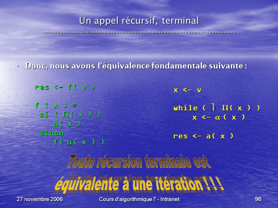 27 novembre 2006Cours d algorithmique 7 - Intranet96 Un appel récursif, terminal ----------------------------------------------------------------- Donc, nous avons léquivalence fondamentale suivante : Donc, nous avons léquivalence fondamentale suivante : x <- v while ( ( x ) ) x <- ( x ) x <- ( x ) res <- a( x ) res <- f( v ) f ( x ) = si ( ( x ) ) si ( ( x ) ) a( x ) a( x ) sinon sinon f( ( x ) ) f( ( x ) )