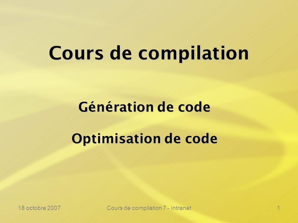 18 octobre 2007Cours de compilation 7 - Intranet132 Résumé du cours ---------------------------------------------------------------- Définitions de base Définitions de base Composition de compilateurs Composition de compilateurs Lenvironnement dun compilateur Lenvironnement dun compilateur Evaluation partielle et compilation Evaluation partielle et compilation Analyses lexicales et syntaxiques Analyses lexicales et syntaxiques Techniques danalyse descendantes Techniques danalyse descendantes Techniques danalyse ascendantes Techniques danalyse ascendantes YACC YACC Analyse sémantique Analyse sémantique Environnement dexécution Environnement dexécution Génération de code Génération de code Optimisation de code Optimisation de code