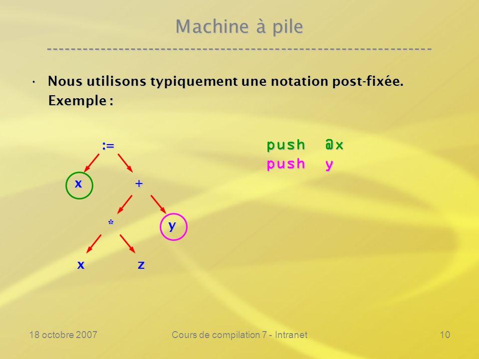 18 octobre 2007Cours de compilation 7 - Intranet10 Machine à pile ---------------------------------------------------------------- Nous utilisons typiquement une notation post-fixée.Nous utilisons typiquement une notation post-fixée.