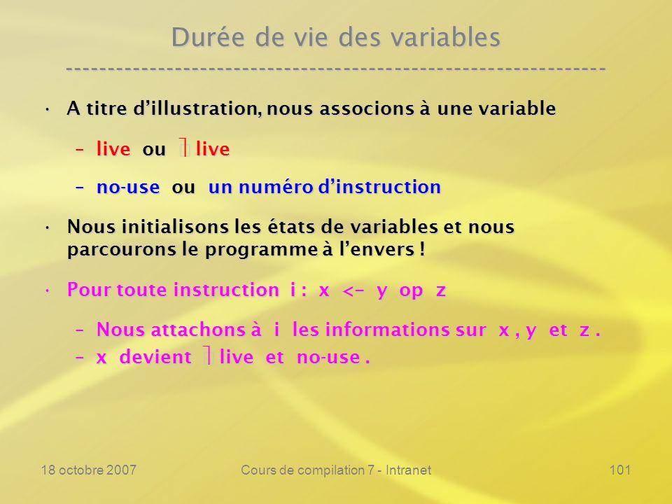 18 octobre 2007Cours de compilation 7 - Intranet101 Durée de vie des variables ---------------------------------------------------------------- A titre dillustration, nous associons à une variableA titre dillustration, nous associons à une variable –live ou live –no-use ou un numéro dinstruction Nous initialisons les états de variables et nous parcourons le programme à lenvers !Nous initialisons les états de variables et nous parcourons le programme à lenvers .