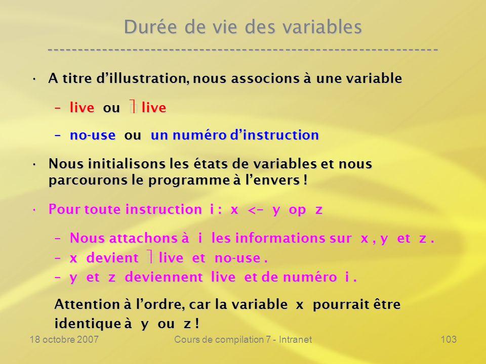 18 octobre 2007Cours de compilation 7 - Intranet103 Durée de vie des variables ---------------------------------------------------------------- A titre dillustration, nous associons à une variableA titre dillustration, nous associons à une variable –live ou live –no-use ou un numéro dinstruction Nous initialisons les états de variables et nous parcourons le programme à lenvers !Nous initialisons les états de variables et nous parcourons le programme à lenvers .