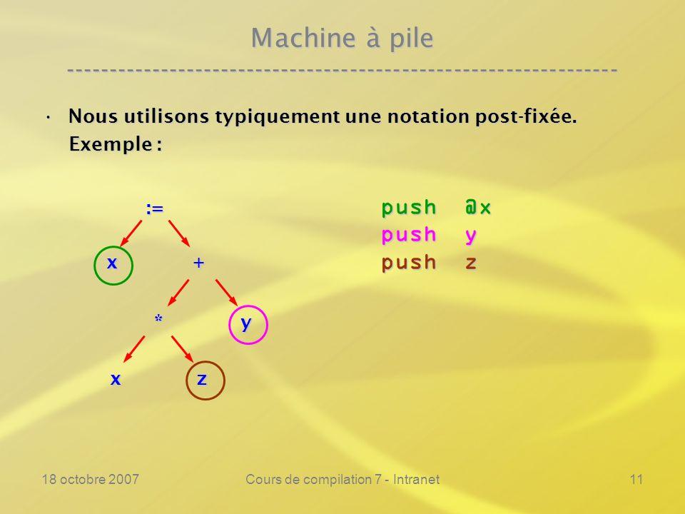 18 octobre 2007Cours de compilation 7 - Intranet11 Machine à pile ---------------------------------------------------------------- Nous utilisons typiquement une notation post-fixée.Nous utilisons typiquement une notation post-fixée.