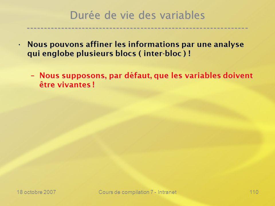 18 octobre 2007Cours de compilation 7 - Intranet110 Durée de vie des variables ---------------------------------------------------------------- Nous pouvons affiner les informations par une analyse qui englobe plusieurs blocs ( inter-bloc ) !Nous pouvons affiner les informations par une analyse qui englobe plusieurs blocs ( inter-bloc ) .