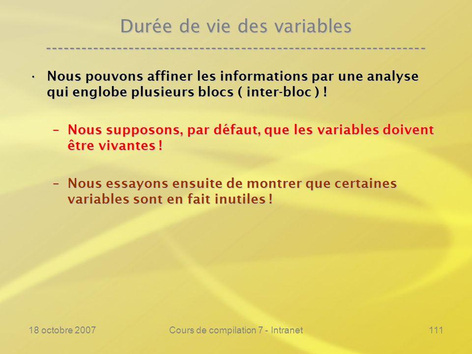 18 octobre 2007Cours de compilation 7 - Intranet111 Durée de vie des variables ---------------------------------------------------------------- Nous pouvons affiner les informations par une analyse qui englobe plusieurs blocs ( inter-bloc ) !Nous pouvons affiner les informations par une analyse qui englobe plusieurs blocs ( inter-bloc ) .