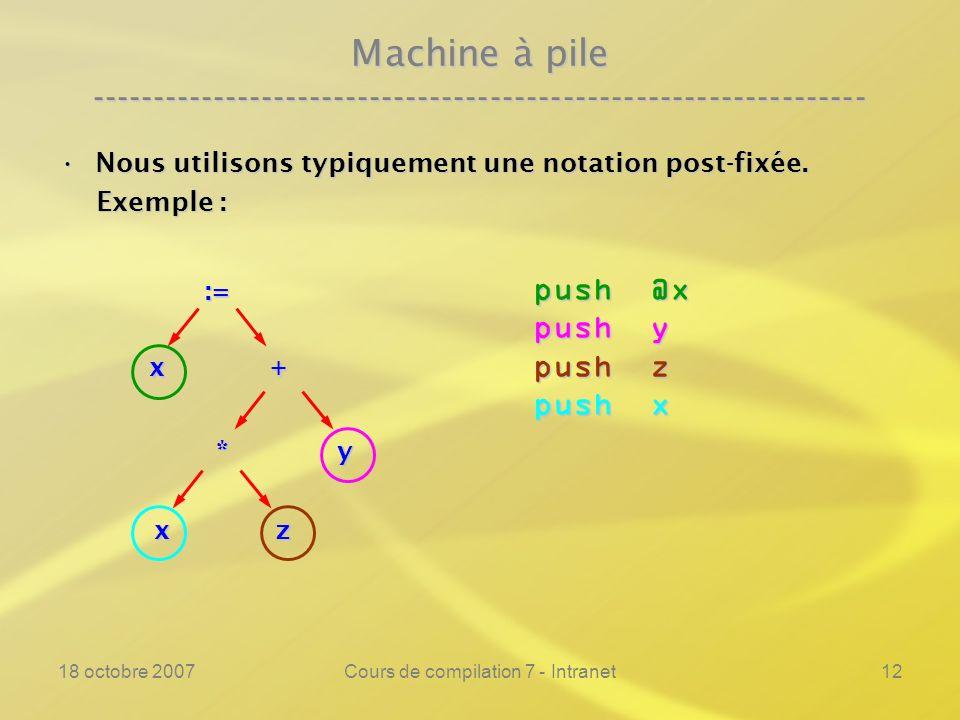18 octobre 2007Cours de compilation 7 - Intranet12 Machine à pile ---------------------------------------------------------------- Nous utilisons typiquement une notation post-fixée.Nous utilisons typiquement une notation post-fixée.