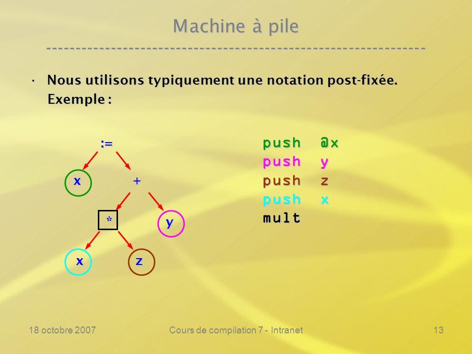 18 octobre 2007Cours de compilation 7 - Intranet13 Machine à pile ---------------------------------------------------------------- Nous utilisons typiquement une notation post-fixée.Nous utilisons typiquement une notation post-fixée.