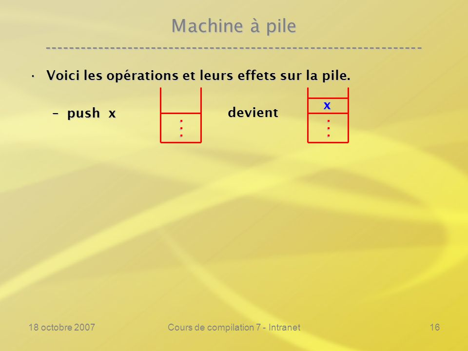 18 octobre 2007Cours de compilation 7 - Intranet16 Machine à pile ---------------------------------------------------------------- Voici les opérations et leurs effets sur la pile.Voici les opérations et leurs effets sur la pile.