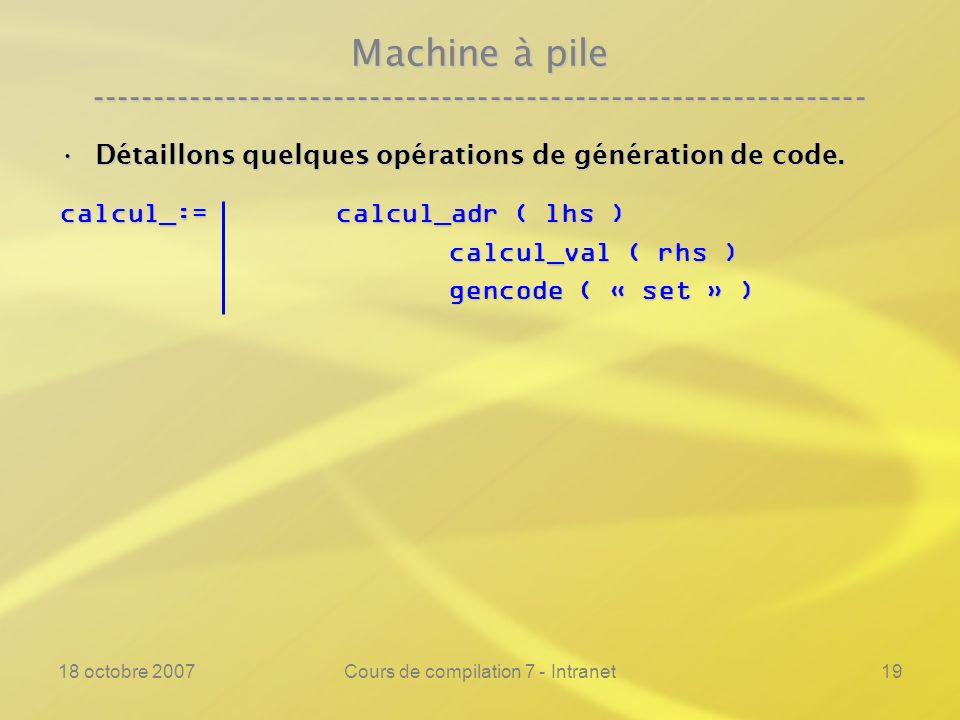 18 octobre 2007Cours de compilation 7 - Intranet19 Machine à pile ---------------------------------------------------------------- Détaillons quelques opérations de génération de code.Détaillons quelques opérations de génération de code.
