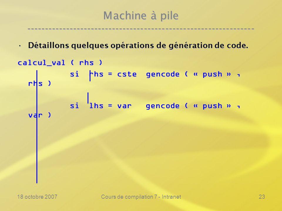 18 octobre 2007Cours de compilation 7 - Intranet23 Machine à pile ---------------------------------------------------------------- Détaillons quelques opérations de génération de code.Détaillons quelques opérations de génération de code.