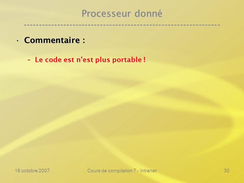 18 octobre 2007Cours de compilation 7 - Intranet30 Processeur donné ---------------------------------------------------------------- Commentaire :Commentaire : –Le code est nest plus portable !
