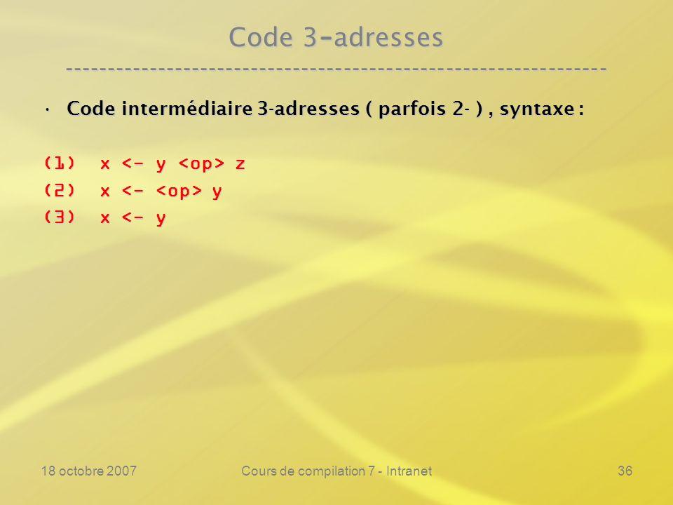 18 octobre 2007Cours de compilation 7 - Intranet36 Code 3 - adresses ---------------------------------------------------------------- Code intermédiaire 3-adresses ( parfois 2- ), syntaxe :Code intermédiaire 3-adresses ( parfois 2- ), syntaxe : (1) x z (2) x y (3) x <- y
