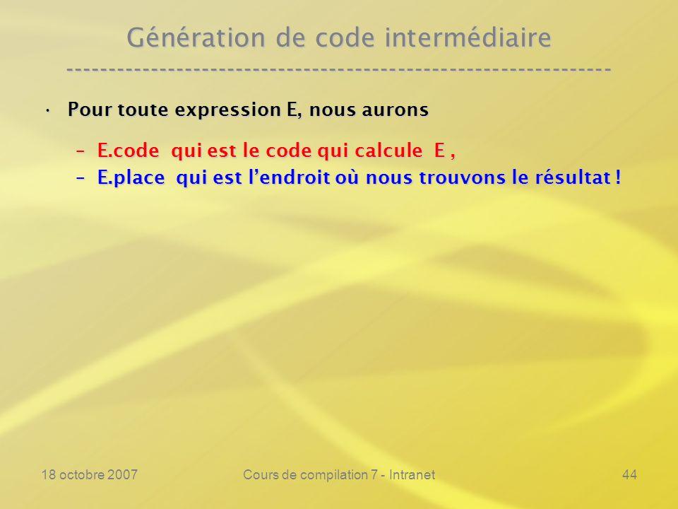 18 octobre 2007Cours de compilation 7 - Intranet44 Génération de code intermédiaire ---------------------------------------------------------------- Pour toute expression E, nous auronsPour toute expression E, nous aurons –E.code qui est le code qui calcule E, –E.place qui est lendroit où nous trouvons le résultat !