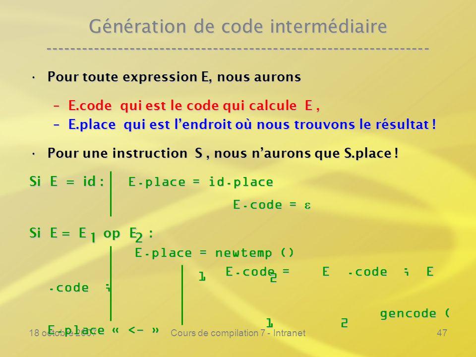 18 octobre 2007Cours de compilation 7 - Intranet47 Génération de code intermédiaire ---------------------------------------------------------------- Pour toute expression E, nous auronsPour toute expression E, nous aurons –E.code qui est le code qui calcule E, –E.place qui est lendroit où nous trouvons le résultat .