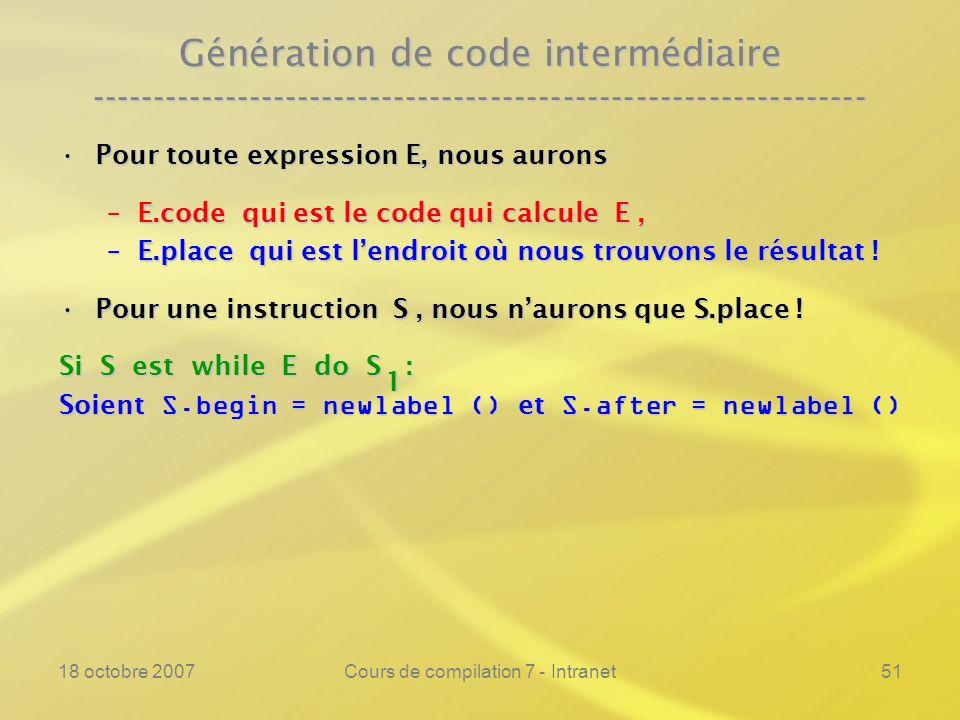18 octobre 2007Cours de compilation 7 - Intranet51 Génération de code intermédiaire ---------------------------------------------------------------- Pour toute expression E, nous auronsPour toute expression E, nous aurons –E.code qui est le code qui calcule E, –E.place qui est lendroit où nous trouvons le résultat .