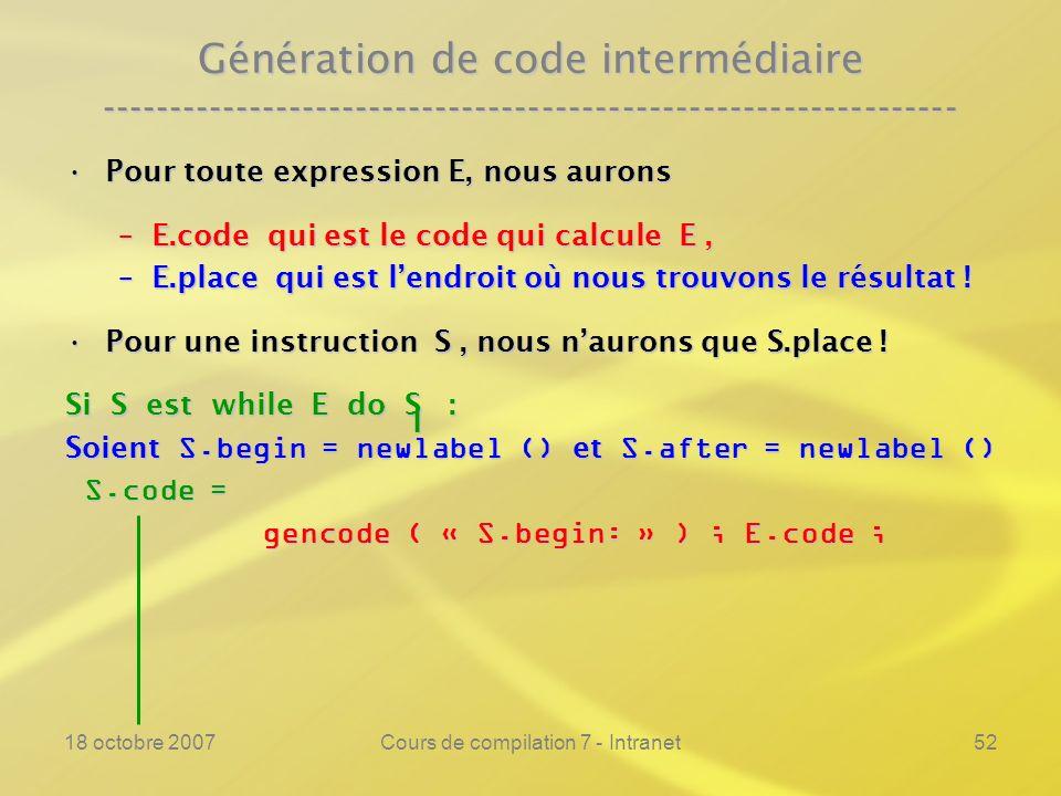 18 octobre 2007Cours de compilation 7 - Intranet52 Génération de code intermédiaire ---------------------------------------------------------------- Pour toute expression E, nous auronsPour toute expression E, nous aurons –E.code qui est le code qui calcule E, –E.place qui est lendroit où nous trouvons le résultat .