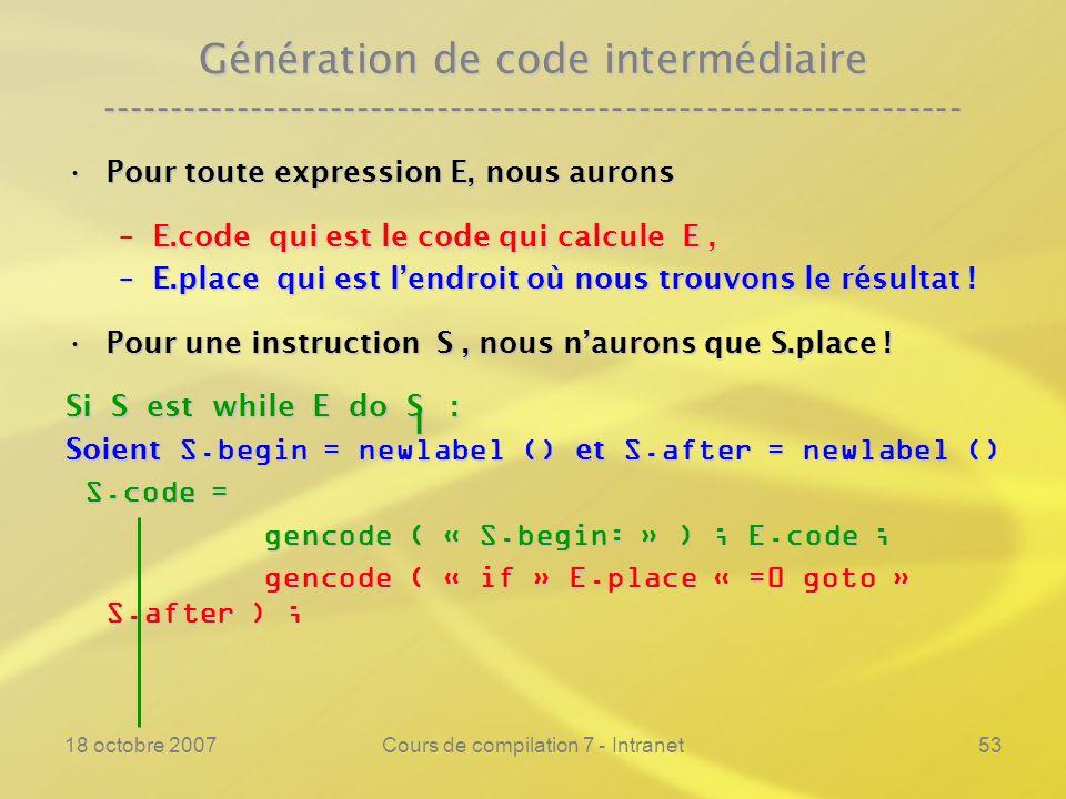 18 octobre 2007Cours de compilation 7 - Intranet53 Génération de code intermédiaire ---------------------------------------------------------------- Pour toute expression E, nous auronsPour toute expression E, nous aurons –E.code qui est le code qui calcule E, –E.place qui est lendroit où nous trouvons le résultat .