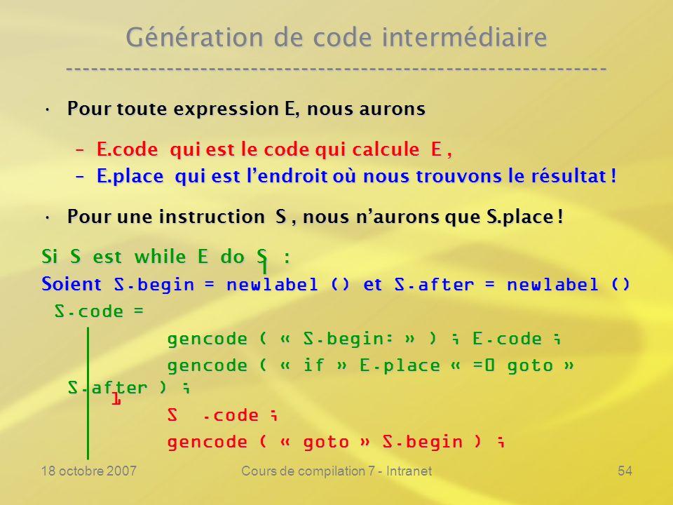18 octobre 2007Cours de compilation 7 - Intranet54 Génération de code intermédiaire ---------------------------------------------------------------- P